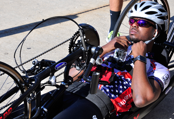image of RJ Anderson in his custom racing wheelchair